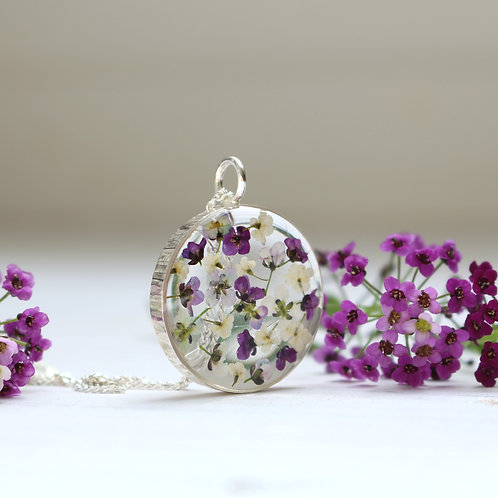 Handmade sterling silver flower necklace with purple Alyssum and Ammi Majus