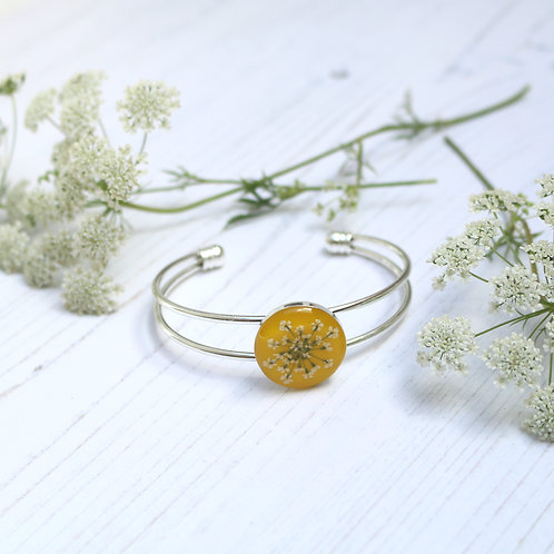 Silver bangle in Mustard Yellow, with real Queen Anne's Lace flower