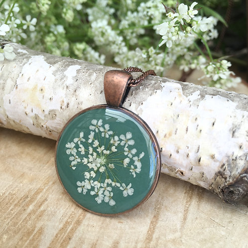 Antique copper necklace in jade green, real flower 7th anniversary gift