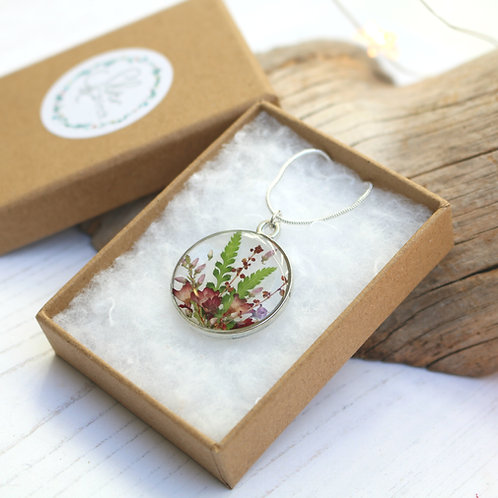Handmade silver plated real flower necklace with ferns and heather