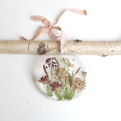 Real astrantia, alyssum, ferns, gypsophila resin wall hanging