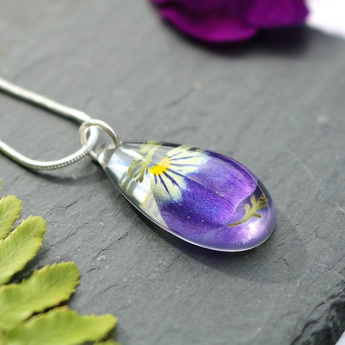 Teardrop necklace with real viola, violet petal and mini leaves
