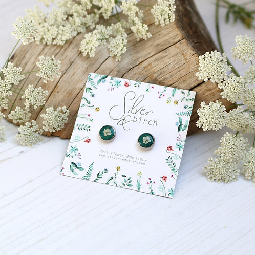 Surgical stainless steel stud earrings in Forest green, with real flowers