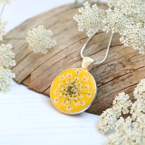 Silver necklace in Mustard yellow, with real Queen Anne's Lace flower