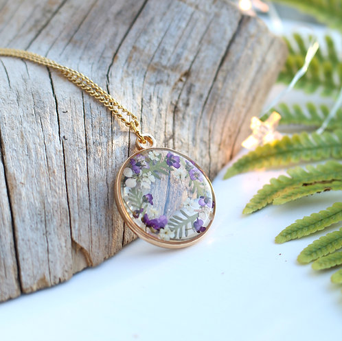 Gold circle wreath necklace with real alyssum flowers and fern leaves