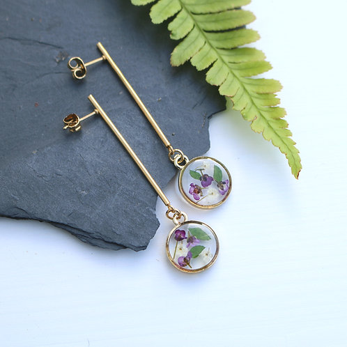 Gold real flower and fern drop dangle earrings Christmas gift