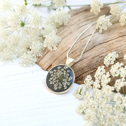 Silver necklace in Charcoal grey, with real Queen Anne's Lace flower