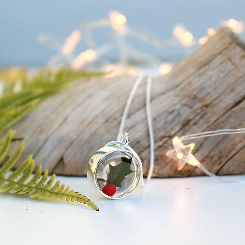 Real holly leaf and red berry silver circle necklace perfect Christmas gift