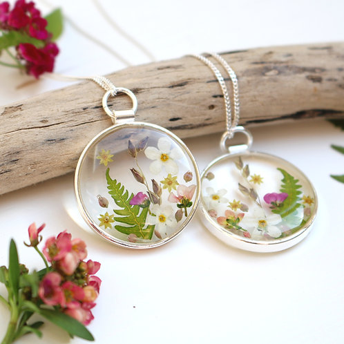 Sterling silver summer flower necklace with white forget me nots