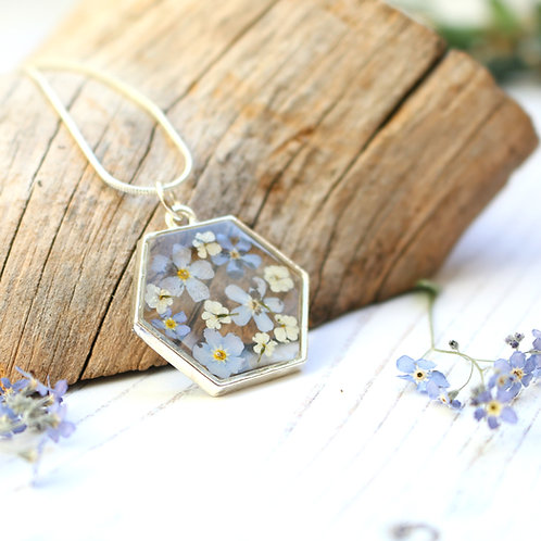 Forget me not silver hexagon necklace