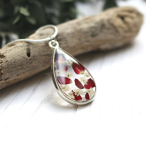 Red rose petal silver teardrop necklace
