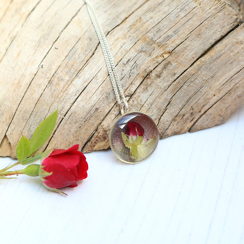 Handmade sterling silver flower necklace with leaf print and real red rose bud