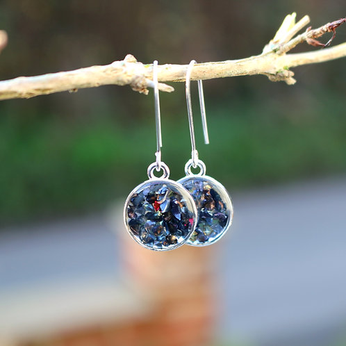 Handmade sterling silver drop dangle earrings with crushed sparkle gems blues