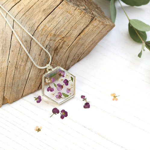 Alyssum and fern silver hexagon necklace