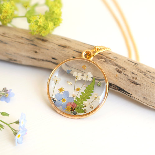 Gold summer meadow necklace with forget me nots