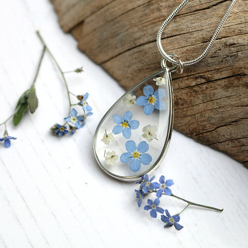 Forget me not silver teardrop necklace