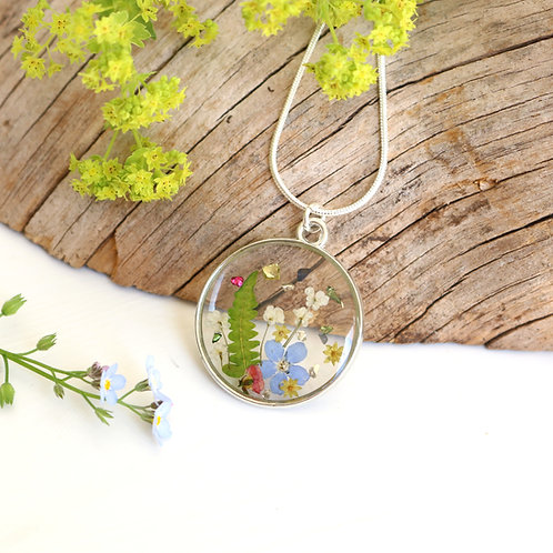 Silver summer meadow necklace with forget me nots