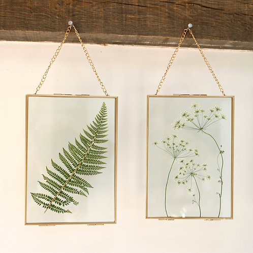 Real fern leaf glass botanical art with gold frame