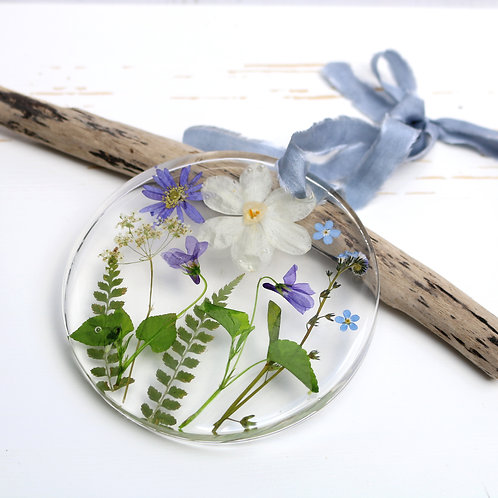 Spring flowers wall hanging, violets, cow parsley, forget me nots