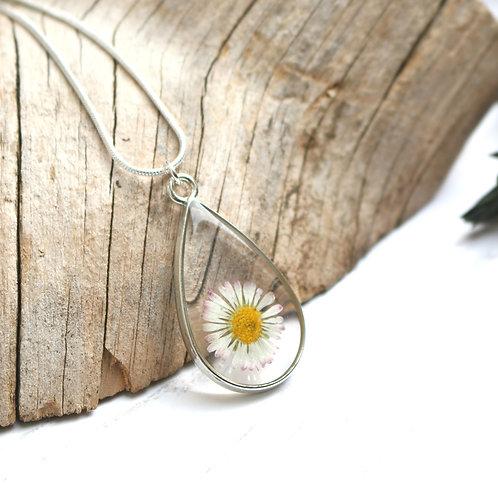 Real daisy silver teardrop necklace