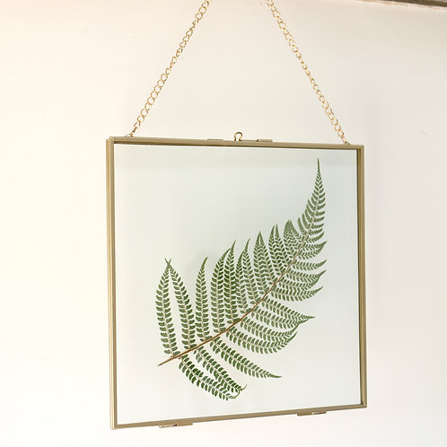 Real fern leaf botanical art glass with gold metal frame