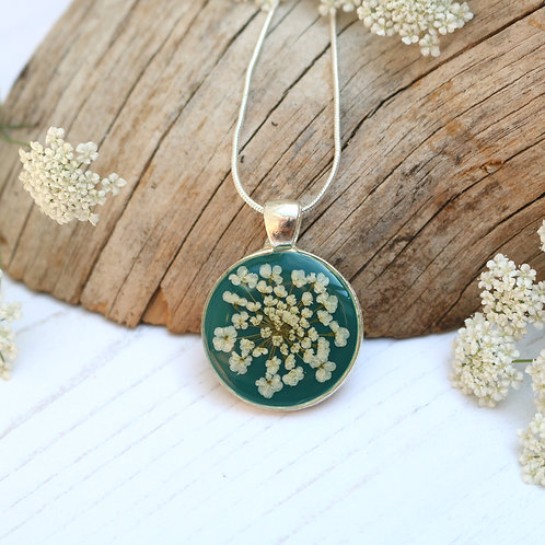 Silver necklace in Forest green, with real Queen Anne's Lace flower