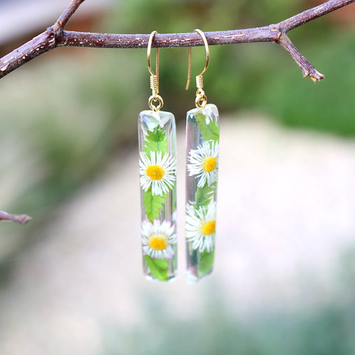 Real daisy and fern drop bar dangle earrings gold vermeil gift