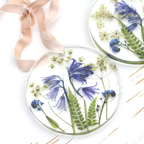 Bluebells wall hanging with forget me nots, ferns and cow parsley
