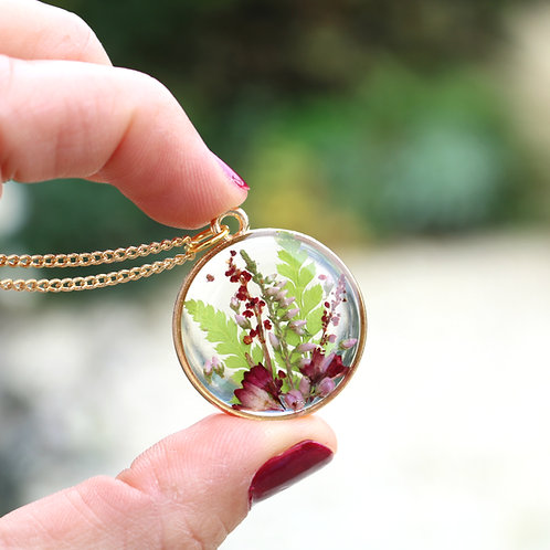 Real fern leaves, red Heuchera and New Forest heather gold circle necklace