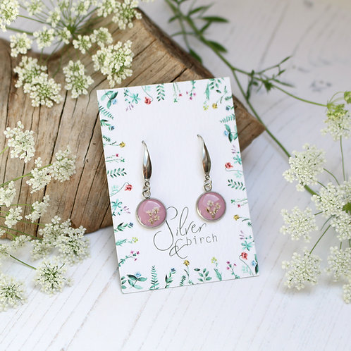 Surgical stainless steel dangly earrings in Dusky pink, with real flowers