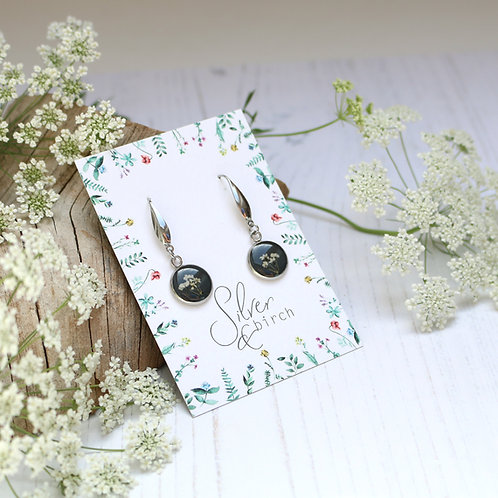 Surgical stainless steel dangly earrings in Charcoal grey, with flowers