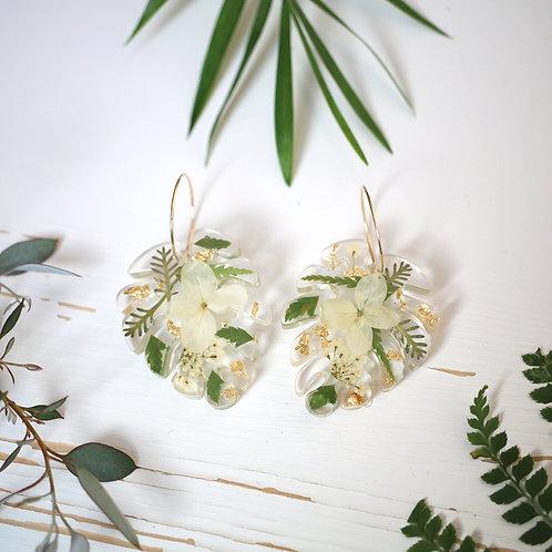 Real hydrangea and fern monstera leaf gold hoop earrings gold leaf