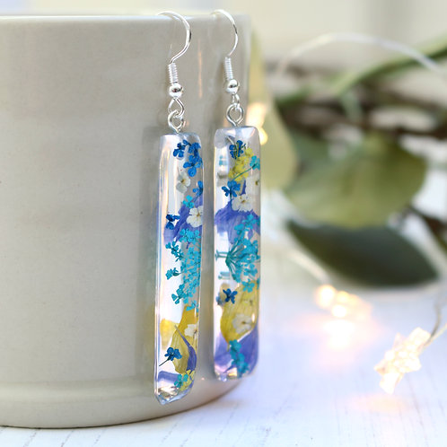 Teal, blue and yellow drop bar dangle earrings sterling silver gift