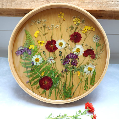 Floral meadow bamboo wooden serving tray