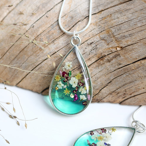 Emerald green real flowers and sparkle silver teardrop necklace 55th anniversary