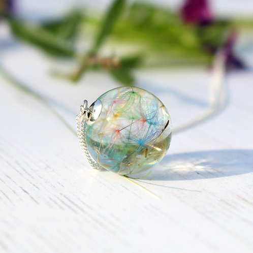 Rainbow dandelion seeds wish necklace sterling silver orb bubble