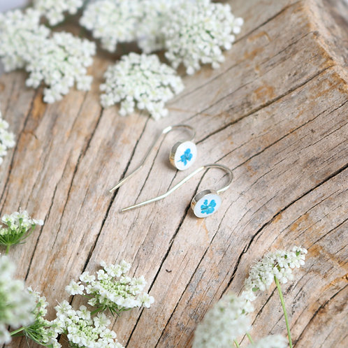 Sterling silver drop dangle earrings white with real teal flower
