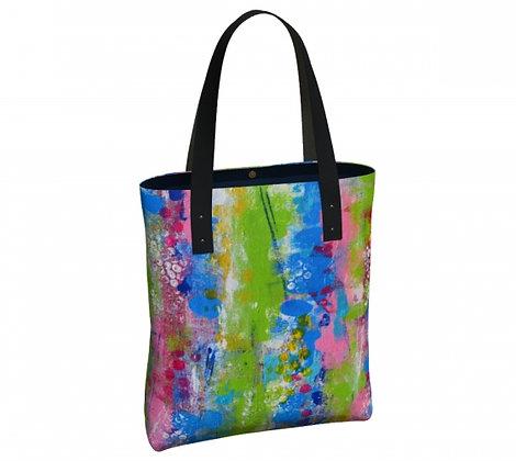 sac bleu, vert et rose produit dérivé de l'oeuvre abstraite de l'artiste peintre Gisèle Vivier