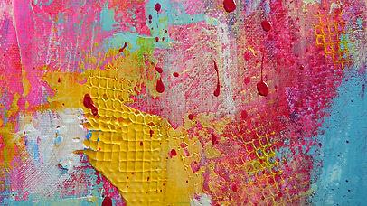 peinture acrylique rose et jaune de Gise