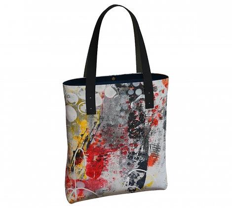 sac classique orange, noir et gris de l'artiste peintre Gisèle Vivier