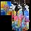 sac rose, bleu, jaune dérivé de l'oeuvre abstraite de l'artiste peintre Gisèle Vivier