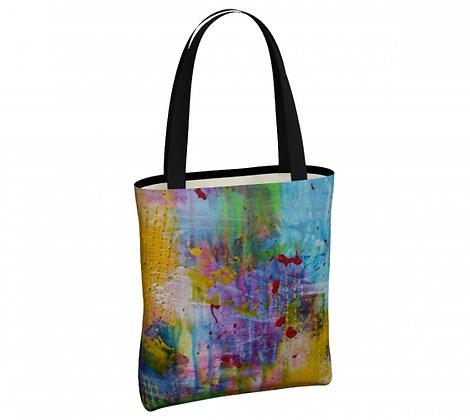 sac couleur jaune, turquoise, violet, dérivé peinture abstraite de l'artiste peintre Gisèle Vivier