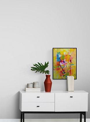 mise en situation de L'oeuvre abstraite de l'artiste peintre Gisèle Vivier