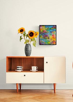 mise en situation de la peinture abstraite de l'artiste peintre Gisele Vivier