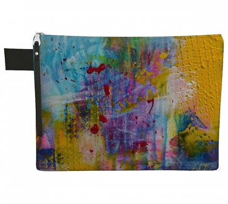 Pochette en tissu jaune, turquoise, violet, produit dérivé de la peinture abstraite de l'artiste peintre Gisèle Vivier