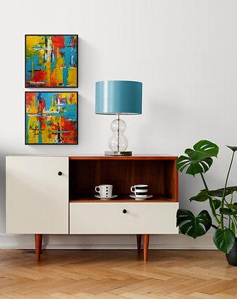 mise en situation de la peinture abstraite de Gisele Vivier artiste peintre
