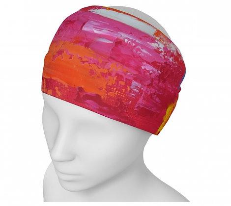 bandeau pour femme orange, rose et rouge produit dérivé de l'artiste peintre Gisèle Vivier