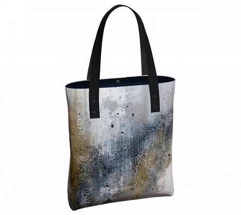 Sac urbain noir, gris et or, produit dérivé de l'oeuvre abstraite de l'artiste peintre Gisèle Vivier