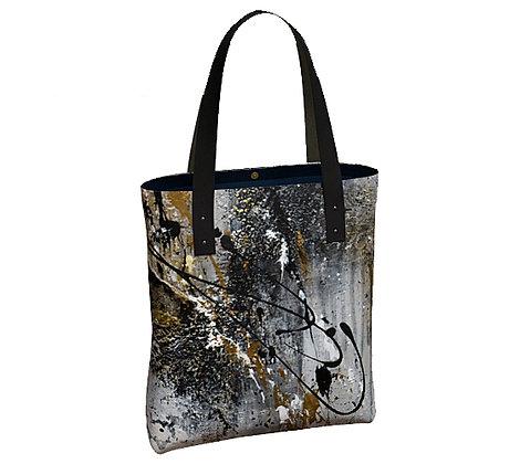 sac noir de face noir, gris et or produit dérivé de l'oeuvre de Gisèle Vivier artiste peintre