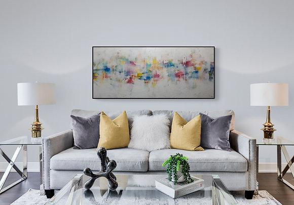 sale de séjour -mise en situation de l'oeuvre abstraite de l'artiste peintre Gisèle Vivier